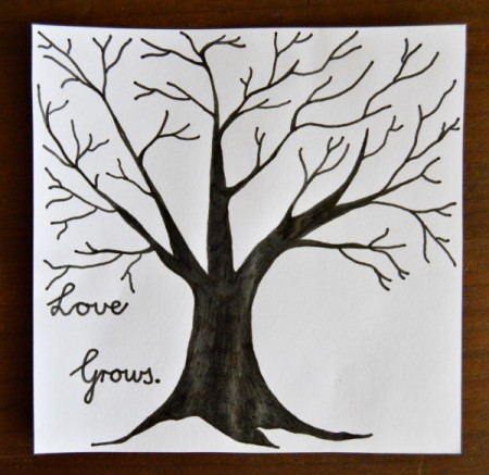 Love Grows Valentine Card - cut out the tree printout