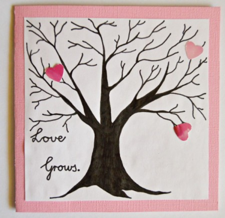 Love Grows Valentine Card - punch out hearts and begin gluing