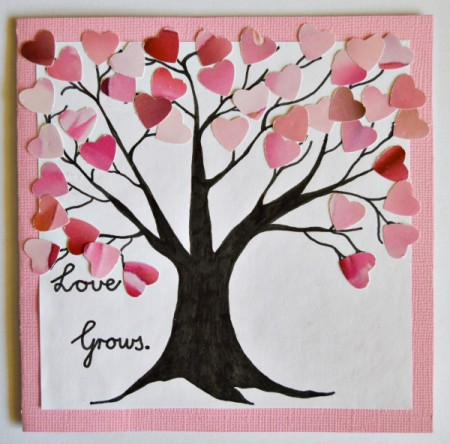 Love Grows Valentine Card - tree covered with pink and red heart leaves