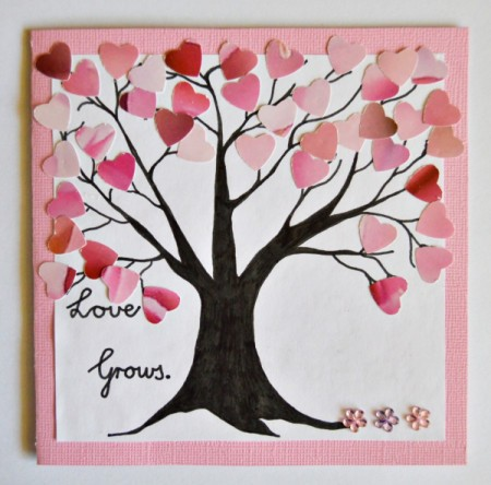 Love Grows Valentine Card - add flower stickers