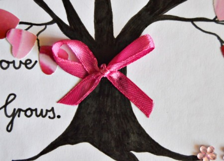 Love Grows Valentine Card - make a ribbon bow and glue to the tree trunk