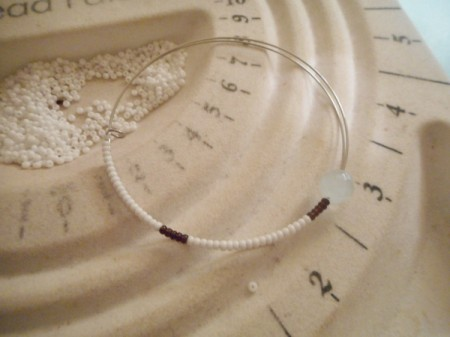 Delicate Memory Wire Beaded Bracelet - add a focal bead and continue pattern on the other side