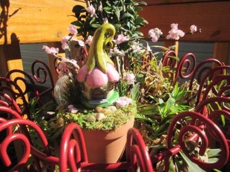 The Smallest Fairy Garden - outside on plant shelf