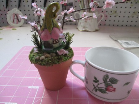 The Smallest Fairy Garden - next to coffee cup