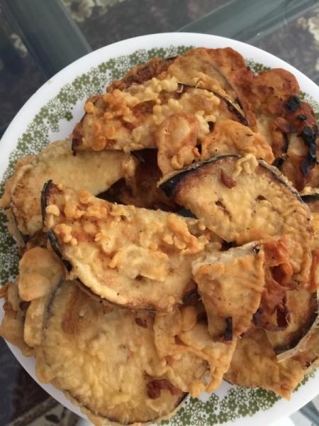 Fried Eggplant Slices on plate