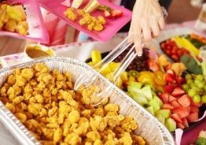 Chicken Nuggets and Fruit at Birthday Party