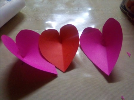 Mini Pop-up Valentine Card - repeat with the other two folded pieces of paper