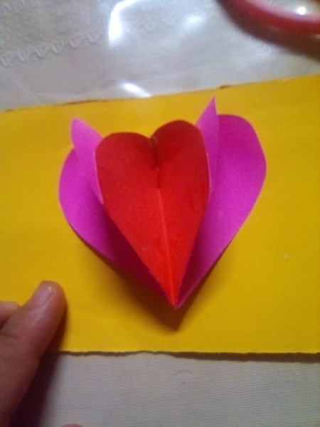 Mini Pop-up Valentine Card - glue the hearts into the center fold of the card