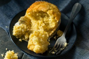 Sweet Cornbread Muffin on a Plate