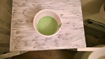 New Life for Old Cabinet - mixing paint