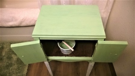New Life for Old Cabinet - painted green - partial view of the interior