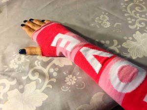 DIY Arm Warmers from Socks - check fit