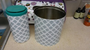 Upscale Recycled Containers with Con-Tact Paper - can and container covered in blue patterned paper