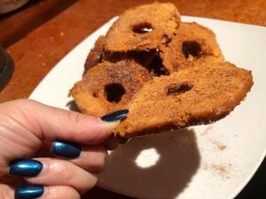Cinnamon Donut Chips - bake thicker slices longer if needed