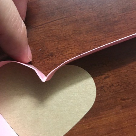 Valentine's Heart Chocolate Candy/Coupon Gift - making the turn at the top