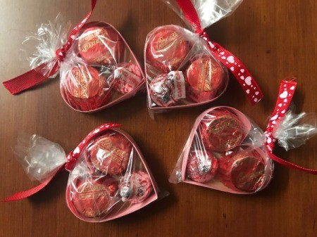 Valentine's Heart Chocolate Candy/Coupon Gift - bags ties with ribbon
