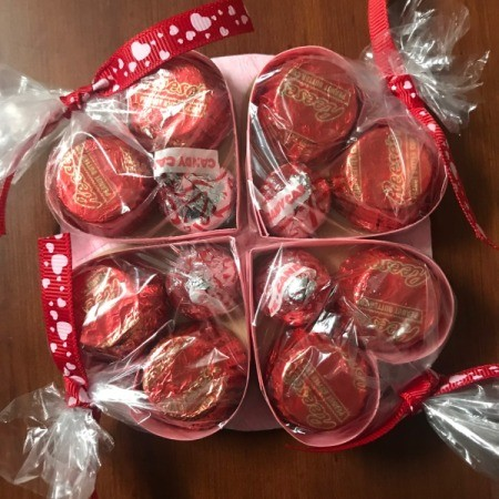 Valentine's Heart Chocolate Candy/Coupon Gift - all bags in place