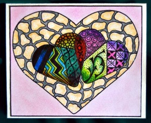 Two Hearts As One Valentine Day Card -  finished card with heart coloring page glued on the front