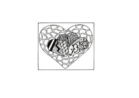 Two Hearts As One Valentine Day Card - coloring page
