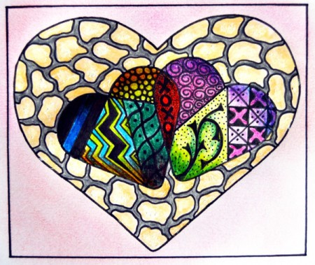 Two Hearts As One Valentine Day Card - example of completed coloring page