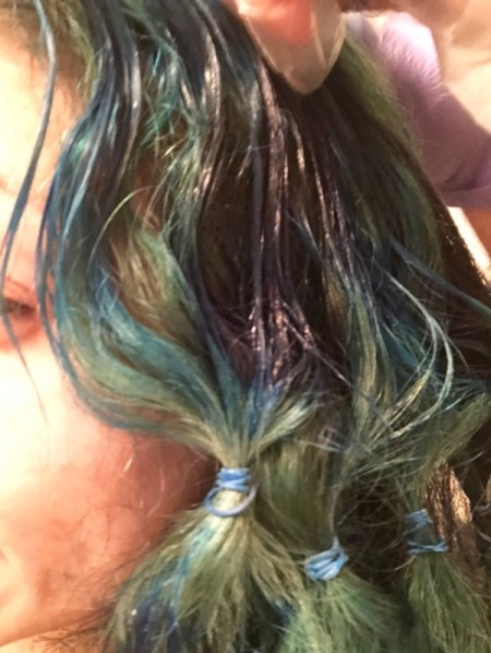 DIY Ombre Hair Colouring - saturate top of hair with the new color (blue)