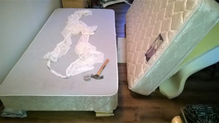 Boxspring with Mattress pulled off