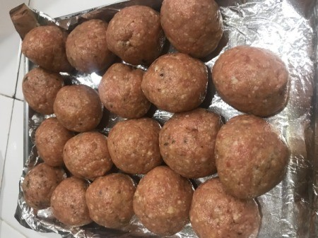 Turkey Meatballs on foil lined pan ready to bake