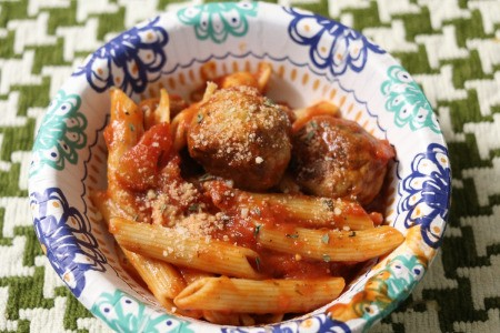 Turkey Meatballs with Pasta in bowl