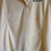 Removing Stains from a Moisture Wicking Golf Shirt - pale yellow shirt