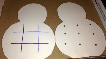 Paper Snowman Dry-Erase Tic-Tac-Toe & Dots and Boxes Boards - draw the tic tac toe grid on both sides of one snowman and then laminate both