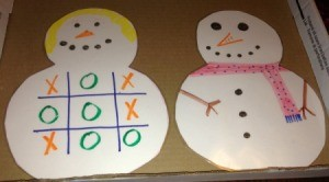 Paper Snowman Dry-Erase Tic-Tac-Toe & Dots and Boxes Boards  - finished tic tac toe snowman and one that can be decorated