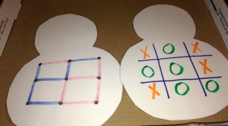 Paper Snowman Dry-Erase Tic-Tac-Toe & Dots and Boxes Boards