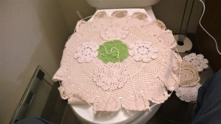 Toilet Lid Cover - sewing doilies together