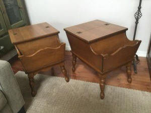 A pair of Mersman dough box tables.