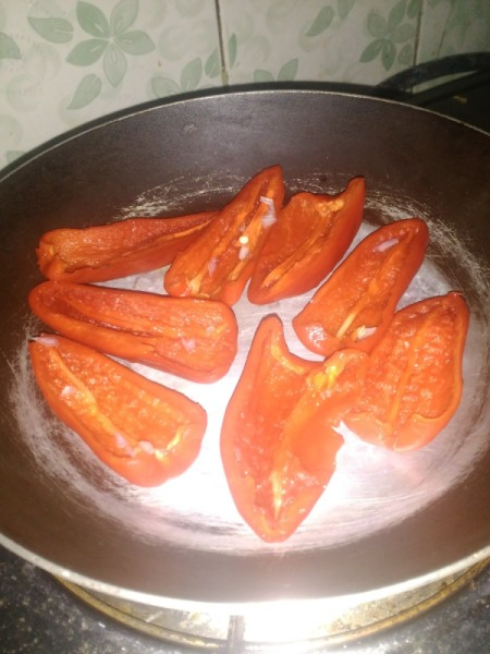 grilling Red Pepper halves in pan