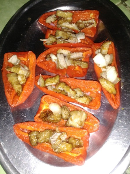 pork pieces in Red Peppers