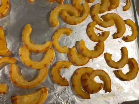 Roasted Delicata Squash on baking squash