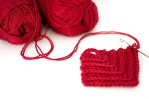 Red Crochet Rectangle Coaster
