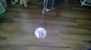 Mirror Ball for Cats - closeup of finished hanging mirrored ball