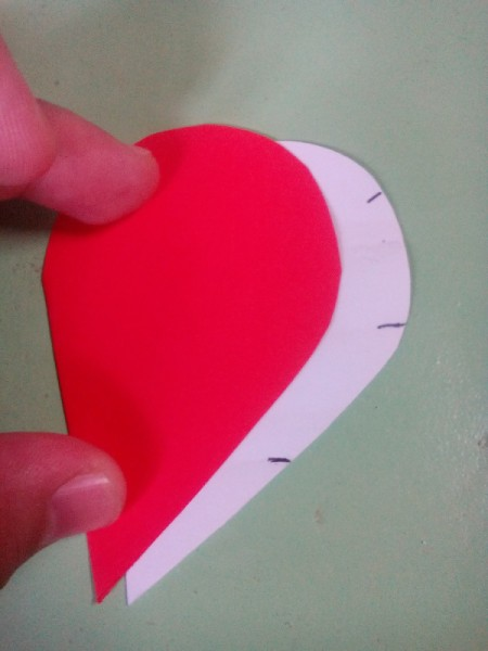 Pop Heart Decoration - red heart on top of white marked pattern