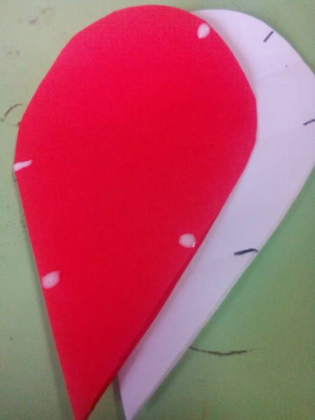 Pop Heart Decoration - close the heart and add a drop of  glue on the outer edge at the top and bottom but not middle mark, also put two dots on the folded edge