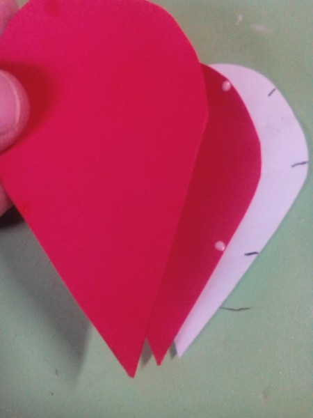 Pop Heart Decoration - cover with another half heart and secure with paper clips for better adhesion