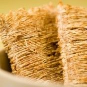 Two large pieces of shredded wheat.