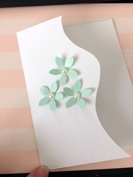 """Floral """"Feel Better Soon"""" Card - begin gluing flowers to the card"""
