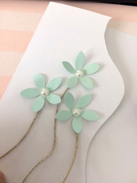 """Floral """"Feel Better Soon"""" Card - use ribbon or cord for stems"""