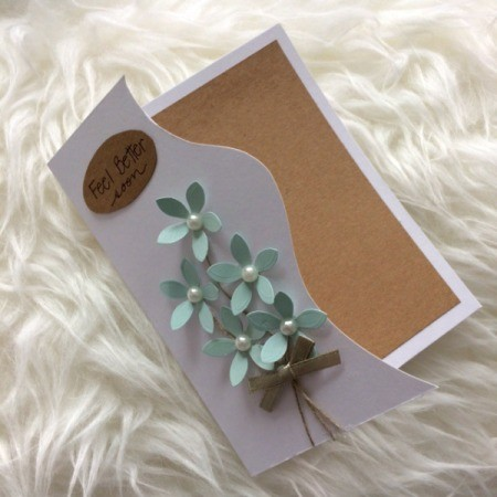"""Floral """"Feel Better Soon"""" Card - write message and glue in place"""