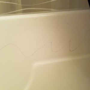 Removing Permanent Marker From Tub and Toilet - marker on tub
