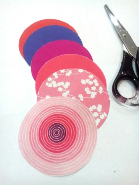 Tiny Hearts Wall Decor - an array of different colored paper circles