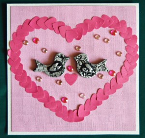Turtle Dove of Love Valentine Card - finished card with rhinestones randomly glued to the card face around the doves, inside the heart