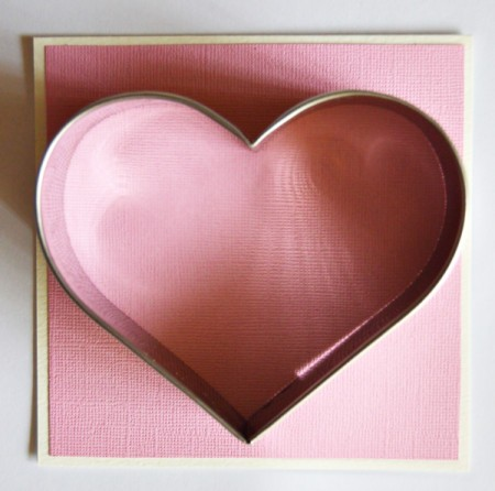 Turtle Dove of Love Valentine Card - use the cookie cutter and pencil to trace a heart shape onto the card